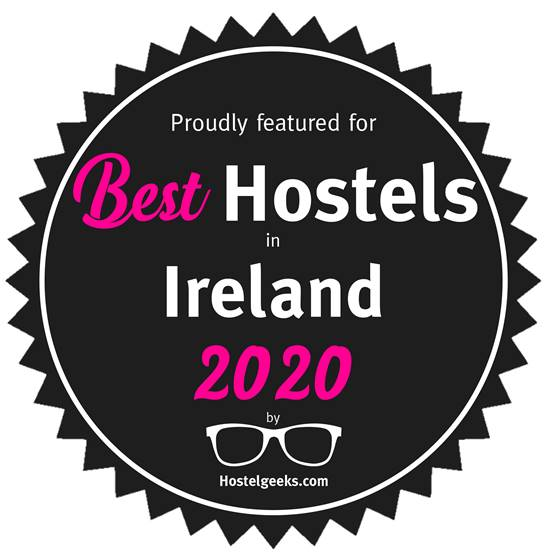 Proudly featured for Best Hostels in Ireland 2020 by hostelgeeks.com